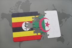 intryguje z flaga państowowa Uganda i Algeria na światowej mapie Obraz Royalty Free