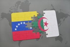 intryguje z flaga państowowa Venezuela i Algeria na światowej mapie Zdjęcie Stock