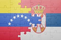 Intryguje z flaga państowowa Venezuela i Serbia Pojęcie Fotografia Royalty Free
