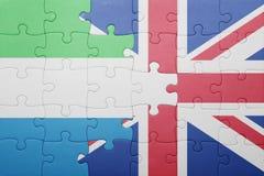 intryguje z flaga państowowa wielki Britain leone i sierra zdjęcie royalty free