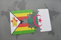 intryguje z flaga państowowa Zimbabwe i Algeria na światowej mapie Obraz Stock