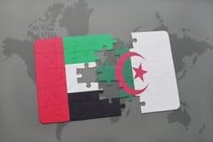 intryguje z flaga państowowa zlani arabscy emiraty i Algeria na światowej mapie Zdjęcia Stock