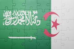 intryguje z flaga państowowa Algeria Arabia i saudyjczyk Fotografia Royalty Free