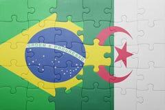 intryguje z flaga państowowa Algeria i Brazil Zdjęcie Stock