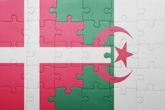 intryguje z flaga państowowa Algeria i Denmark Obrazy Stock