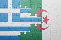 intryguje z flaga państowowa Algeria i Greece Obraz Stock