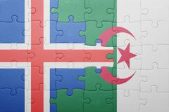 intryguje z flaga państowowa Algeria i Iceland Zdjęcia Stock