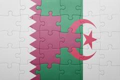 intryguje z flaga państowowa Algeria i Qatar Zdjęcia Royalty Free