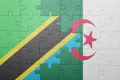 intryguje z flaga państowowa Algeria i Tanzania Obrazy Stock