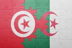 intryguje z flaga państowowa Algeria i Tunisia Obrazy Stock