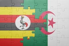 intryguje z flaga państowowa Algeria i Uganda Obrazy Stock