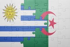 intryguje z flaga państowowa Algeria i Uruguay Obraz Stock