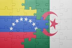 intryguje z flaga państowowa Algeria i Venezuela Zdjęcia Stock