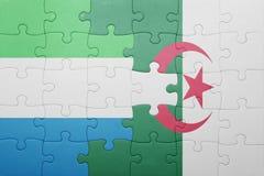 intryguje z flaga państowowa Algeria leone i sierra Fotografia Stock