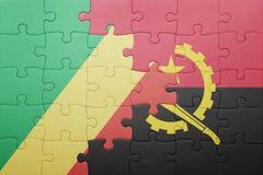 intryguje z flaga państowowa Angola Congo i republika Zdjęcie Royalty Free