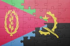intryguje z flaga państowowa Angola i Eritrea Obrazy Stock