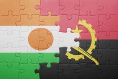intryguje z flaga państowowa Angola i Niger Obrazy Stock