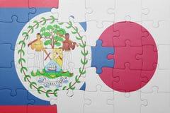 Intryguje z flaga państowowa Belize i Japan Obrazy Stock