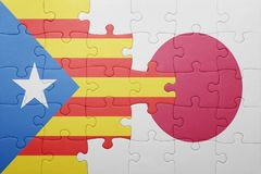 Intryguje z flaga państowowa Catalonia i Japan Zdjęcie Stock
