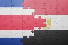 intryguje z flaga państowowa costa Egypt i rica Zdjęcia Royalty Free