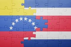 Intryguje z flaga państowowa costa Venezuela i rica Zdjęcia Stock