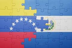 Intryguje z flaga państowowa el Salvador i Venezuela Fotografia Royalty Free
