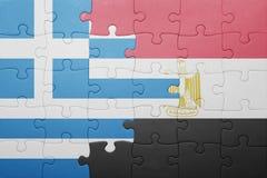 intryguje z flaga państowowa Greece i Egypt Obraz Stock