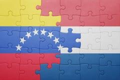Intryguje z flaga państowowa holandie i Venezuela Obrazy Royalty Free