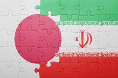 Intryguje z flaga państowowa Iran i Japan Zdjęcie Royalty Free