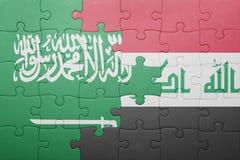Intryguje z flaga państowowa Iraq Arabia i saudyjczyk zdjęcia royalty free