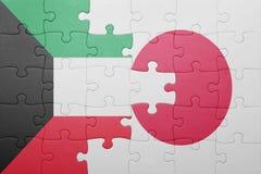 Intryguje z flaga państowowa Japan i Kuwait Obrazy Stock
