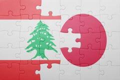 Intryguje z flaga państowowa Japan i Lebanon Zdjęcie Royalty Free