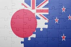 Intryguje z flaga państowowa Japan i nowy Zealand Obraz Royalty Free
