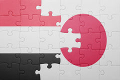 Intryguje z flaga państowowa Japan i Yemen Zdjęcia Stock