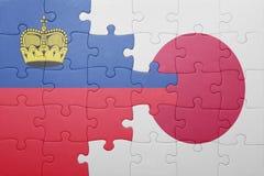 Intryguje z flaga państowowa Liechtenstein i Japan Fotografia Royalty Free