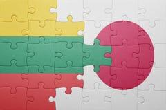 Intryguje z flaga państowowa Lithuania i Japan Obraz Royalty Free