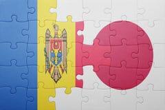 Intryguje z flaga państowowa Moldova i Japan Zdjęcie Stock