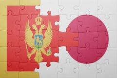 Intryguje z flaga państowowa Montenegro i Japan Fotografia Stock