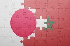 intryguje z flaga państowowa Morocco i Japan Fotografia Stock