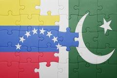 Intryguje z flaga państowowa Pakistan i Venezuela Zdjęcie Royalty Free