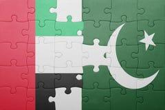 Intryguje z flaga państowowa Pakistan i zlani arabscy emiraty Zdjęcia Royalty Free