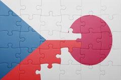 Intryguje z flaga państowowa republika czech i Japan Obrazy Stock