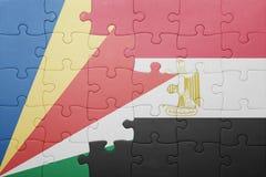 intryguje z flaga państowowa Seychelles i Egypt Zdjęcie Stock