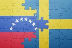 intryguje z flaga państowowa Sweden i Venezuela Obrazy Royalty Free