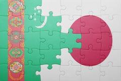Intryguje z flaga państowowa Turkmenistan i Japan Zdjęcia Royalty Free