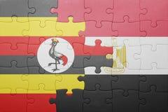 intryguje z flaga państowowa Uganda i Egypt Obraz Stock