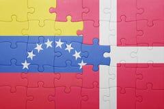 intryguje z flaga państowowa Venezuela i Denmark Fotografia Stock