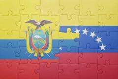 Intryguje z flaga państowowa Venezuela i Ecuador Zdjęcie Royalty Free