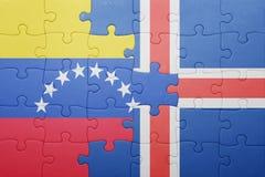 intryguje z flaga państowowa Venezuela i Iceland Zdjęcia Stock