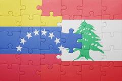 intryguje z flaga państowowa Venezuela i Lebanon Fotografia Stock